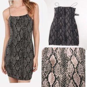🌿 EXPRESS Snake Print Strappy Cocktail Mini Dress